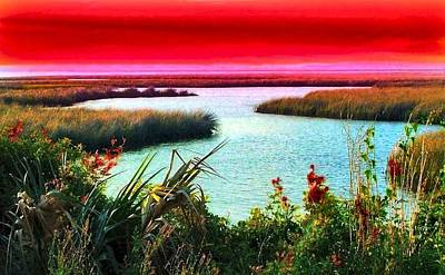 A Sunset Crimsoned Print by Julie Dant
