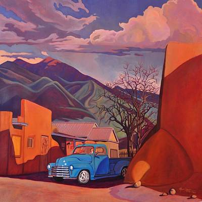 Vintage Truck Painting - A Teal Truck In Taos by Art James West