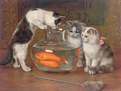 Goldfish Painting - A Tempting Treat by Wilhelm Schwar