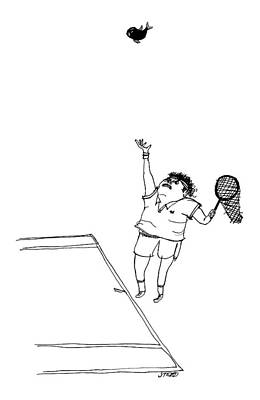 Tennis Drawing - A Tennis Player Holds A Fishing Net Instead by Edward Steed