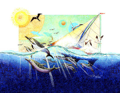 A Tern With The Dolphins Print by David  Chapple