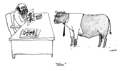 Freud Drawing - A Therapist Shows A Cow by Edward Steed
