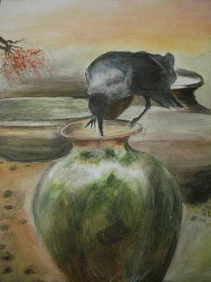 A Summer Evening Painting - A Thirsty Crow by Prasenjit Dhar