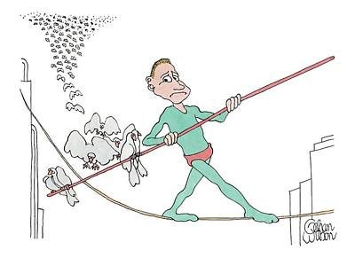 Bird On A Wire Drawing - A Tightrope Walker Is Seen Walking Across A Line by Gahan Wilson