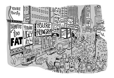 Times Square Drawing - A Times Square-like Streetscape Displays Dozens by Brian Mclachlan