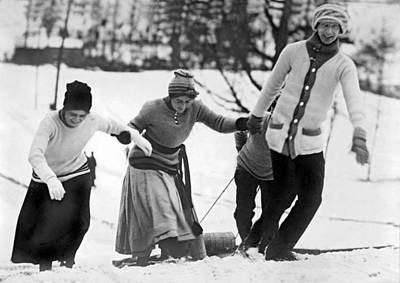 1890s Photograph - A Toboggan Party by Underwood Archives