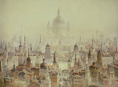 A Tribute To Sir Christopher Wren Print by Charles Robert Cockerell
