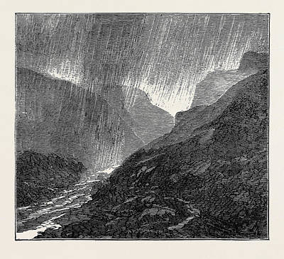 Storm Drawing - A Trip To The Pyrenees Storm-evening Near Eaux-bonnes by English School