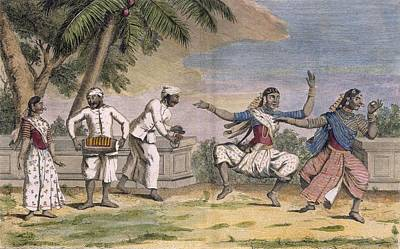 Playing Drawing - A Troupe Of Bayaderes, Or Indian by Pierre Sonnerat