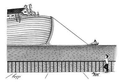 Noahs Ark Drawing - A Tugboat Tows Noah's Ark Across The Ocean. A Man by Felipe Galindo