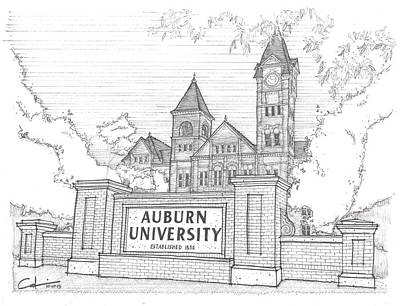 University Of Arizona Drawing - A U by Calvin Durham