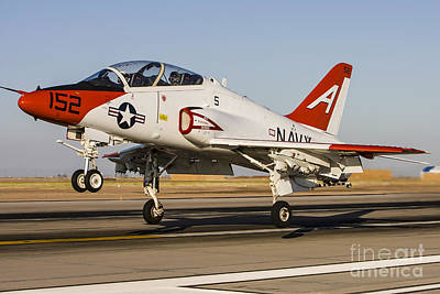 On The Runway Photograph - A U.s. Navy T-45 Goshawk Taking Off by Rob Edgcumbe