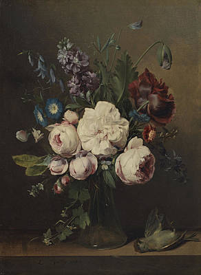 A Vase Of Flowers Print by Louis Leopold Boilly