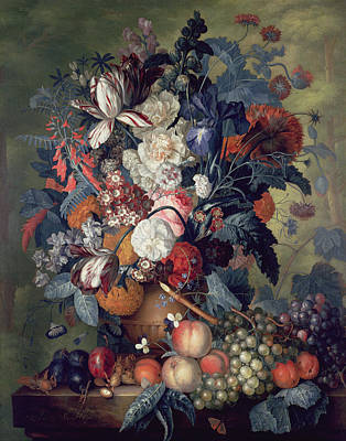 A Vase Of Flowers With Fruit Print by Jacob van Huysum