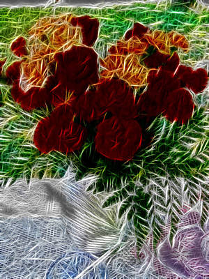 Manipulation Photograph - A Vase Of Standing Roses by Mario Carini