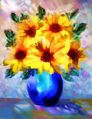 A Vase Of Sunflowers Print by Valerie Anne Kelly