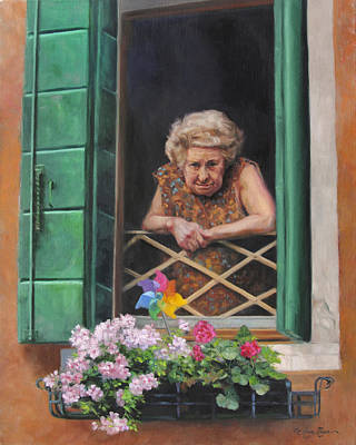 Old Woman Painting - A Venetian Spectator by Anna Rose Bain