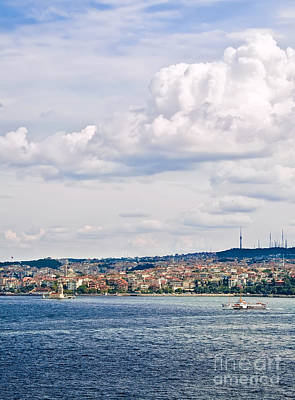 A View From Topkapi Palace Towards The Maiden Tower Print by Leyla Ismet