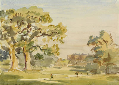 Castle Drawing - A View Of Chirk Castle, 1916 by Philip Wilson Steer