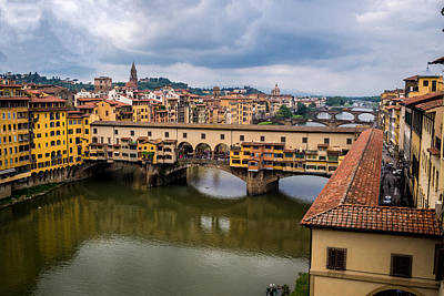 A View Of Ponte Vecchio From The Uffizi Print by Arnaldo Torres