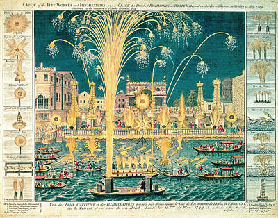 A View Of The Fireworks And Illuminations At His Grace The Duke Of Richmonds At Whitehall Print by English School