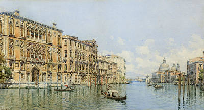 A View Of The Grand Canal With Palazzo Print by Gino de Colle