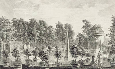 Orange Drawing - A View Of The Orangery by Pieter Andreas Rysbrack