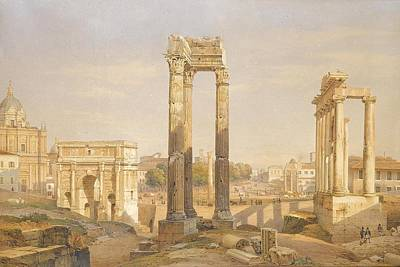 Middle Ground Painting - A View Of The Roman Forum With Oxen And Carts by Celestial Images