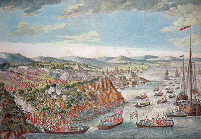 A View Of The Taking Of Quebec, September 13th 1759 Colour Engraving Print by English School