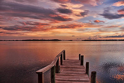 A Summer Evening Photograph - A View To The Bay - Sunset Clouds by HH Photography of Florida