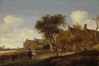 A Village Inn With Stagecoach, Salomon Van Ruysdael Print by Litz Collection
