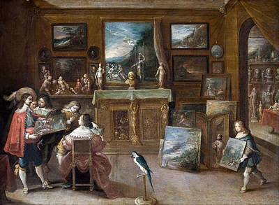 Frans Francken The Younger Painting - A Visit To The Art Dealer by Frans Francken the Younger