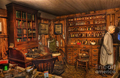 A Visit To The Doctor's Office - Old Time Physician Office - Doctors - Pharmacists - Opticians Print by Lee Dos Santos