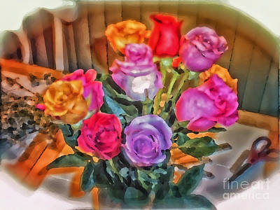 A Vivid Rose Bouquet For You Print by Thomas Woolworth