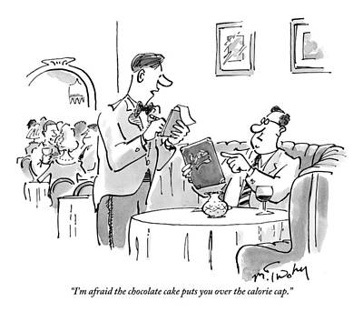 A Waiter Address A Man Ordering In A Restaruant Print by Mike Twohy