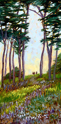 Tall Tree Painting - A Walk In The Park by Alice Leggett