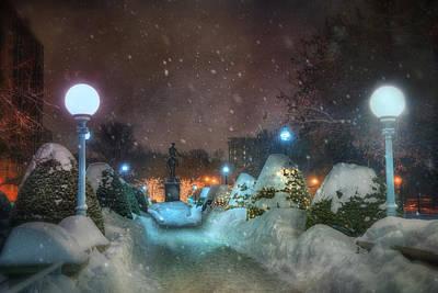 A Walk In The Snow - Boston Public Garden Print by Joann Vitali