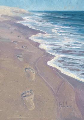 Cape Cod Beach Painting - A Walk On The Beach by Lucie Bilodeau