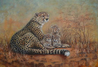 Cheetah Painting - A Watchful Eye by Cynthia House