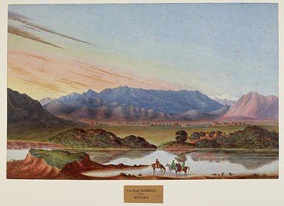 Abbott Photograph - A Watercolour Of Rock Aornos From Huzara by British Library