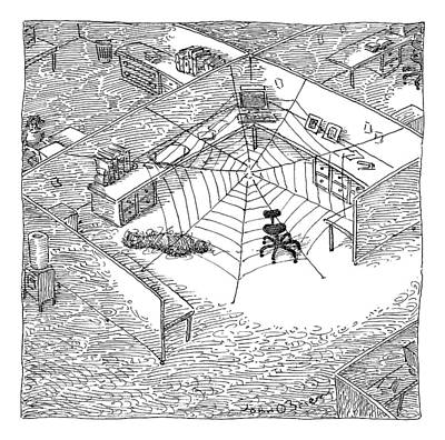 Spider Drawing - A Web Has Entangled A Man At His Cubicle by John O'Brien