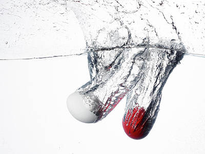 Chromatic Photograph - A White And A Red Birds Egg Dropped by Rebecca Hale