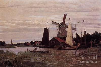 A Windmill At Zaandam Print by Claude Monet