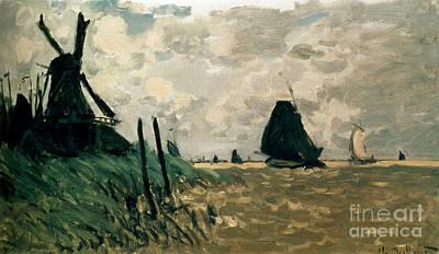 A Windmill Near Zaandam Print by Claude Monet