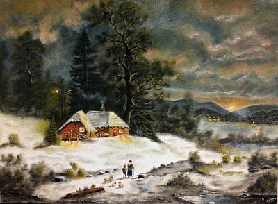 Snowscape Painting - A Winter Evening by Praisey Peter