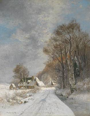 Adolf Painting - A Winter Landscape by Celestial Images