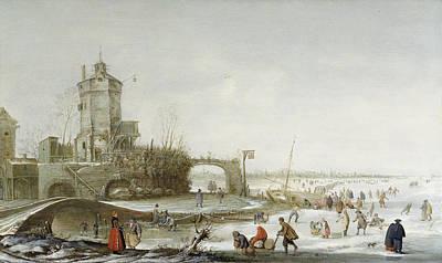 Snow Scene Landscape Painting - A Winter Landscape by Barent Avercamp