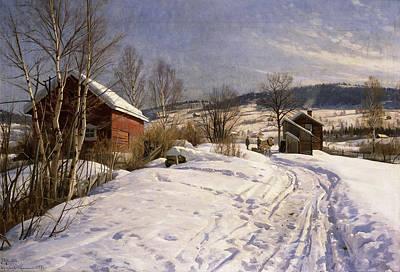 Snow Scene Landscape Painting - A Winter Landscape Lillehammer by Peder Monsted