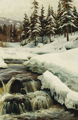 A Winter Landscape With A Mountain Torrent Print by Peder Monsted