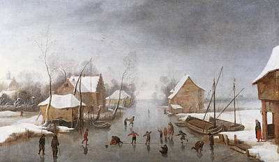 Skaters Painting - A Winter River Landscape by Jan Wildens